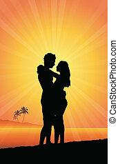 par, strand, romantisk