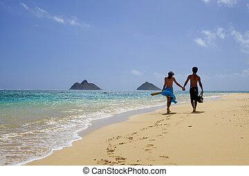 par, strand, ung, hawaii