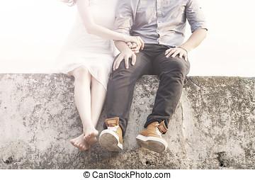 par, strand, ung, sittande