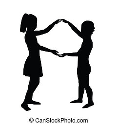 par, su, niños que tienen manos
