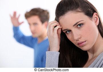 par, tendo, argumento, jovem