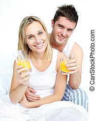 par, tendo, café manhã cama