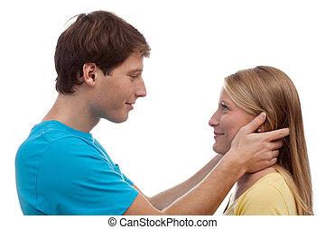 par, tendo, contato olho