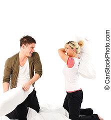 par, tendo divertimento, com, um, combate travesseiro