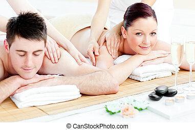 par, tendo, jovem, massagem