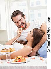 par, tendo, romanticos, pequeno almoço, jovem