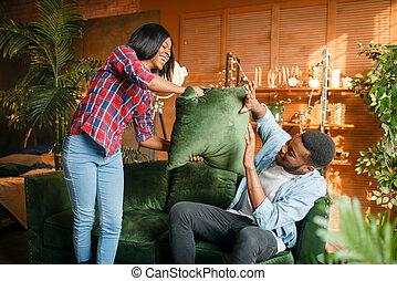 par, tendo, sofá, luta, pretas, divertimento, travesseiro
