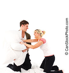 par, tendo, um, combate travesseiro, cama