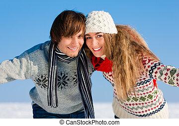 par, tendo, um, inverno, passeio