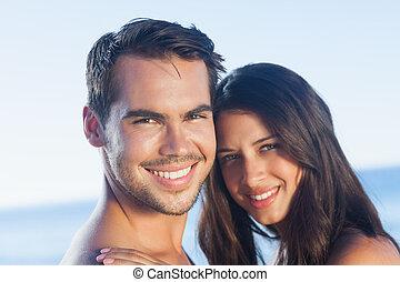 par, tillsammans, framställ, lycklig