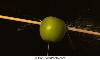 par, tir, pomme verte, flèche