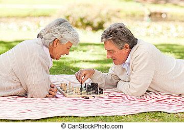 par, tocando, idoso, xadrez