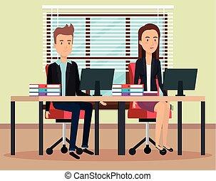 par, trabalhando escritório