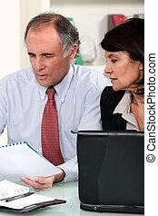 par, trabalhando, negócio, escrivaninha