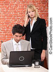 par, trabalhando, negócio, restaurante