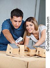 par, trabalhar, modelo, casa