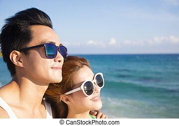 par, ung, ansikte, närbild, strand, lycklig