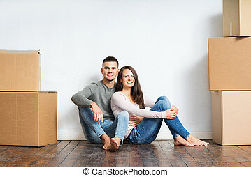 par, ung, deras, unboxing, nytt hem