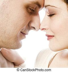 par, ung, nätt, älskande