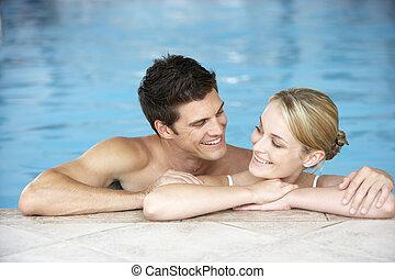 par, ung, slå samman, simning