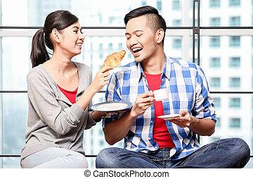 par, ung, tillsammans, asiat, frukost, ha