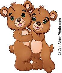 par, urso, caricatura, abraçando