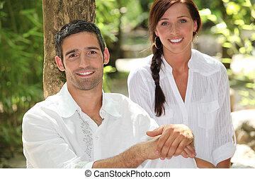 par, utanför, avkopplande