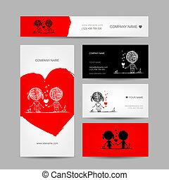 par, valentinbrev, design, kort, din, kyssande