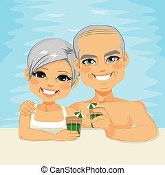 par velho, bebendo, piscina