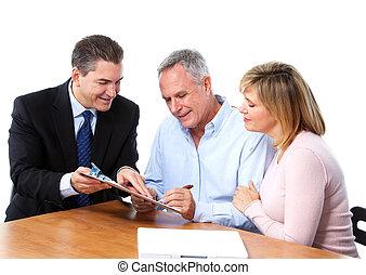 par velho, com, financeiro, adviser.
