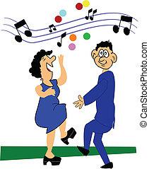 par, velho, dançar