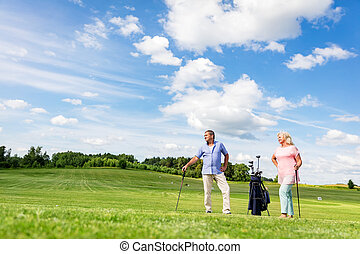 par velho, desfrutando, golfe, game.