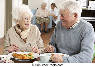 par velho, desfrutando, refeição, junto
