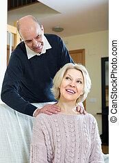 par velho, fazer, um, massagem
