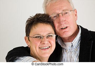 par velho, feliz