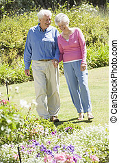 par velho, jardim, andar
