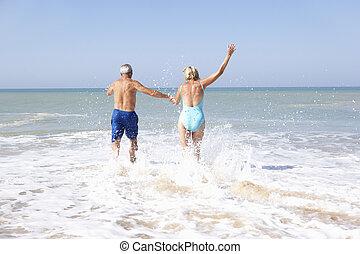 par velho, ligado, feriado praia