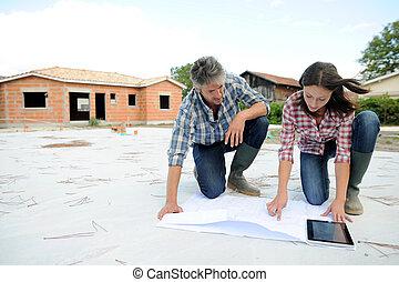 par, verificar, construção, plano, ligado, local
