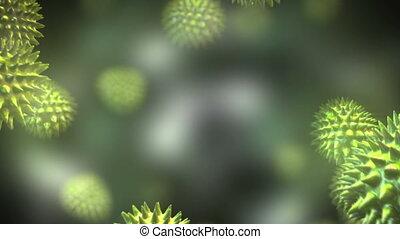 par, vert, virus, en mouvement, système