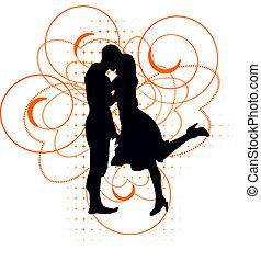 par, vetorial, silueta, amando