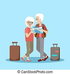 par, viagem, pessoas anciãs