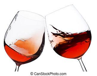 par, vidrio, mudanza, vino rojo