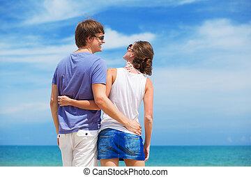 par, vista, praia, jovem, costas