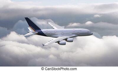 par, voler, avion, nuages