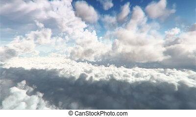 par, voler, nuages, boucle