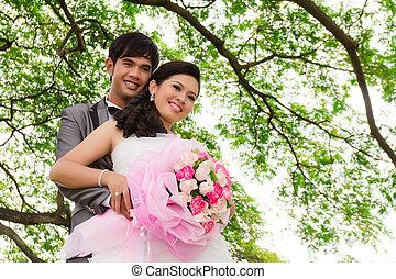 par wedding, con, flor