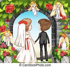par wedding, en, el, rosa, jardín
