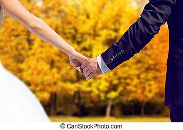par wedding, novia y novio, en, otoño, manos de valor en cartera, juntos, en, un, mancha, permisos amarillos, parque, plano de fondo
