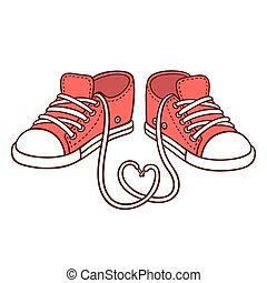 par, zapatillas, rojo
