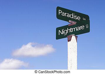 paraíso, pesadilla, señales, encrucijada, calle, avenida, señal